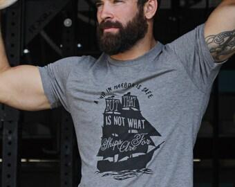 Men's t-shirts - Heather gray crew neck short sleeve t-shirt for men - brave sailors t-shirt - graphic tee for men -  Gift for men