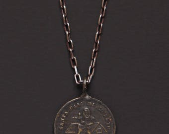 Silver Necklace for men - Patroness of air passengers and auspicious travel - Silver Medal Necklace - Vintage Medal for Men - Men's Jewelry