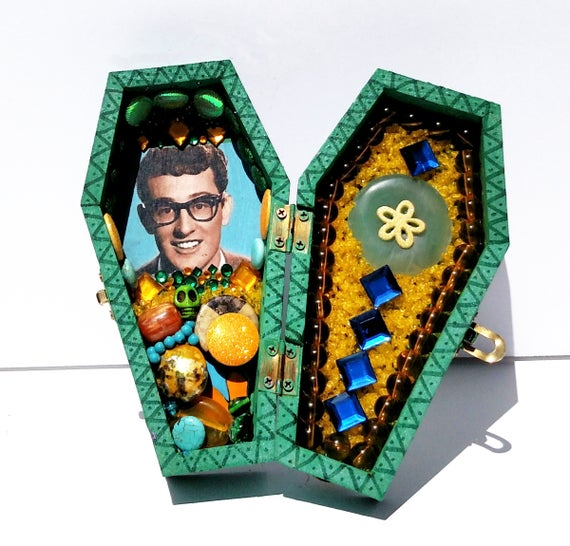 Buddy Holly Coffin Shrine Altar Box - One of a Kind Mixed Media Art