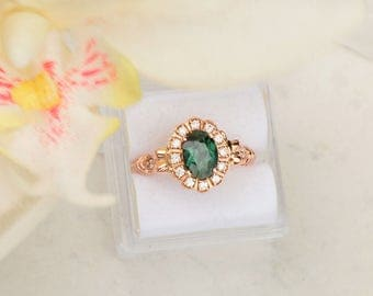 Blue Green Sapphire Engagement Ring, Art Deco Rose Gold Diamond Halo Wedding Ring