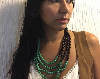 Multi Strand Acai Seed Necklace / Statement Necklace/ Boho Jewelry/ Bohemian Style