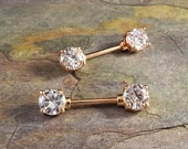 Sparkly Crystal Rose Gold Nipple Ring Nipple Piercing
