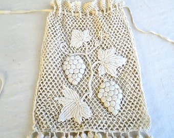 Vintage 1910s Purse Edwardian Crochet Grapevine Design Drawstring Bag Wedding Antique Purse
