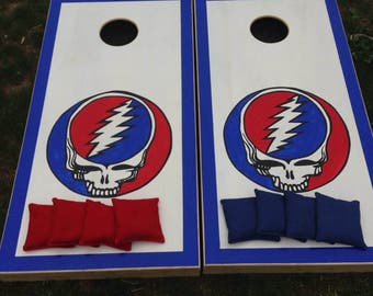READY TO SHIP Grateful Dead Custom Cornhole Boards with a Set of Bags - Handpainted Art - Steal Your Face