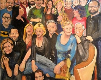 Commission Oil Painting Bonnie and David's Family Gathering Family Portrait Colorful Painting Original Painting Marlene Kurland 30 x 30 SOLD