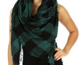 Hunter Green Oversized Blanket Plaid Scarf, Plaid Shawl, Plaid wrap, Classic Plaid Scarf, Thick Square Plaid Scarf, Blanket Scarf, Womens