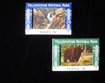 """Series """"A"""" & """"B"""" Yellowstone National Park Colored Miniature Postcards"""