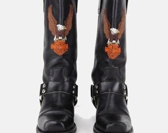 ON SALE // Harley Davidson Black Leather Harness Riding Boots Vtg 80's Embroidered Eagle Ankle Square Toe Biker Moto Motorcycle - 6 US/36 Eu