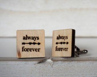 Always and Forever Wedding Cufflinks Always Forever Cuff Links Arrow Wedding Gift Square Cufflinks