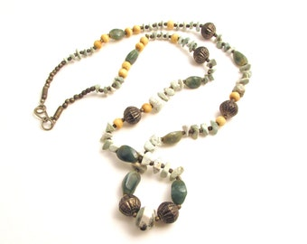 Vintage Green Moss Agate Beaded Necklace / Long Boho Bead Necklace / Tree Agate Stone Necklace