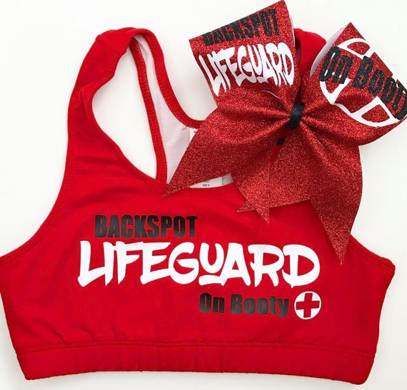 NEW LIFEGUARD on BOOTY Sports Bra & Bow - cheer dance gymnast dancewear october girls child woman adult teen christmas