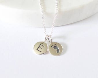Silver Initial & Baby Foot Print Necklace - Personalized