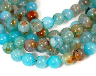 12mm Dragon Veins Agate Round Beads in Teal Blue -15 inch strand