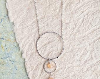 Semiprecious Stone Necklace, Peach Stone, Semiprecious Stone Jewelry, Circle Necklace , Long Necklace
