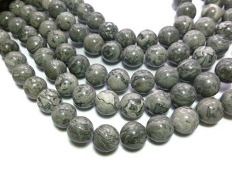 Scenery Jasper - 12mm round bead -  Black and Gray Stone - Full Strand - 31 beads - Grey Picasso Jasper - Crazy Lace - Map Stone