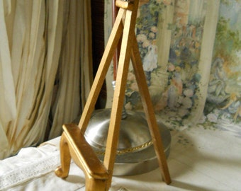 Vintage Gold Wood Table Easel With Locking Chain Starburst Design At Top EAsel Stand  Display Easel