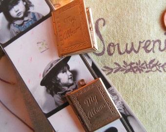 """2 Vintage 1950's """"My Album"""" Etched Book Locket With Hoop"""