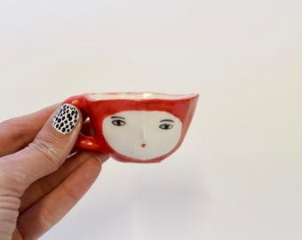 Single espresso red wonky cup