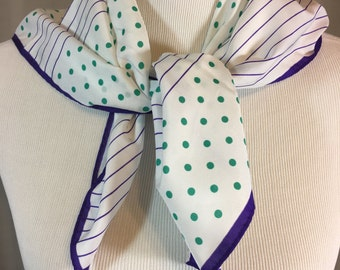 White Scarf with Green Polka Dots and Purple Stripes 26.5 Inches by 25.75 Inches
