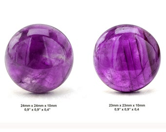 Amethyst Cabochon Stone - Lot of 2 Pieces - Pair Cabochon - Round Cabochons - Gemstone Cabochon