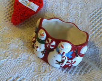 Winter Snowman Ceramic Bowl Sonoma Peppermint Lane Design Vintage Candy Condiment Dessert Dish With Red White Candy Canes and Peppermints