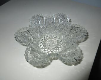 Antique 1800s westmoreland hobstar sawtooth rim EAPG Bowl,pattern glass,tabletop,Period Style,collectible Antique glass ware,Nappy bowl