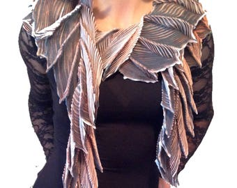 Arashi shibori hand pleated, hand dyed silk scarf - Sandstone Boa