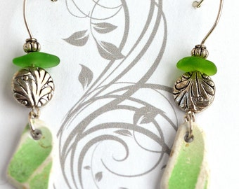 Green Beach Pottery and Sea Glass from Greece Earrings with Sterling Silver