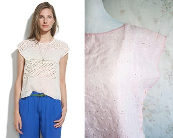 Vintage 70s Lace Eyelet Top, 1970s Lace Crochet Blouse, Crop, Sleeveless, Pink, Madewell