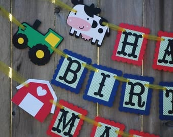 Tractor, Barnyard Birthday Banner, Farm Party, Farm Theme, Barnyard Theme Party Decor