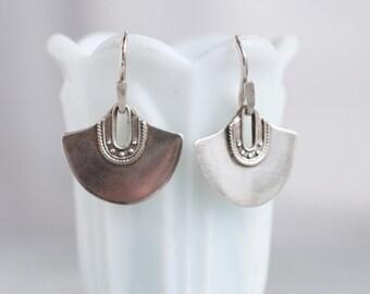 Boho Earrings - Sterling Silver Half Moon Dangle Earrings