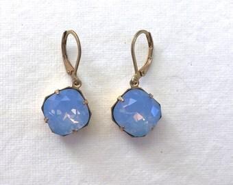 Air Blue Opal Swarovski Crystal Earrings, Cushion Cut, Raw Brass, Lever Back Ear Wires