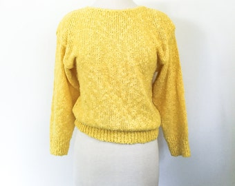 "Vintage 1980s ""Danik of California"" Canary Yellow Knit 3/4 Sleeve Boatneck V-Back Sweater- Size Medium"