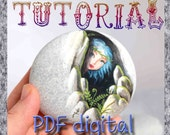 Digital Download Tutorial How to paint a fairy on a rock - Rock painting pdf tutorial in english