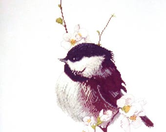 Dimples Designs 'HAIKU' cross stitch pattern by Terrence Nolan, gorgeous chickadee bird with apple blossoms, detailed collectable design