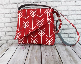 Nori Flap Messenger Slouch Bag with Adjustable Cross Body Bag -Red Arrow - iPad Bag