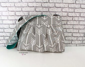 Stella Arrow Diaper Bag - Medium -Arrows Grey with Teal - Nappy Bag Baby Gear - READy to SHIP 6 pockets Adjustable Strap Attach to Stroller