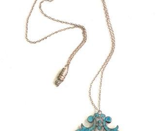 Art Nouveau Blue Enameled Pendant
