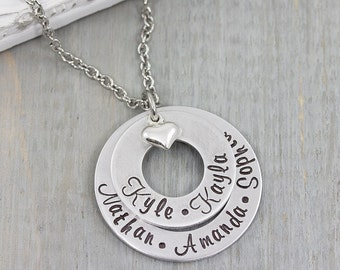 Hand Stamped Jewelry - Personalized Necklace - Mom Necklace - Personalized Jewelry - Mothers Day Gift
