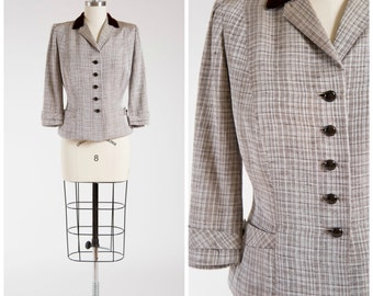 Vintage 1950s Jacket • Cheerful Praise  • Silver Plaid Rayon 50s Jacket with Velvet Trim Size Medium