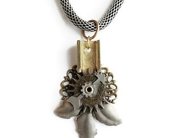 Steampunk Antiqued Brass Floral Industrial Neo-Victorian Handmade Ooak  Salvaged Machinery Filigree Collage Necklace