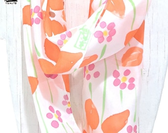 Wife infinity scarf, Gift under 50, Boho Printed Scarf, Silk Pastel Scarf, Handpainted Silk Orange and Pink Wildflowers, Takuyo, 8x72 inches