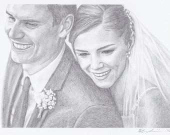 "Custom Portrait 5x7"" - Drawing From Your Photo - Two Portraits or Pets"