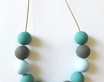 Blue Geometric Necklace Gray Modern