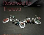 RESERVED FOR THERESA Sterling Silver Charm Bracelet with Ocean Jasper Cabochons and Beads Hand Forged