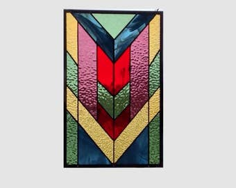 Arts and crafts stained glass window panel chevron stained