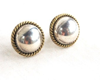 Mixed Metal Dome Earrings Sterling Silver and Brass Domes Button Posts Vintage Taxco Mexico Jewelry