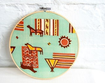Mid Century Modernist Horse Wall Hanging Vintage Fabric 8 Inch Embroidery Hoop Southwestern Minimalist Decor