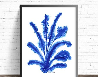 Blue abstract art. Abstract flower print. Abstract modern art. Modern art. Blue wall art prints. Abstract art print. Blue art print.
