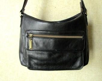 Black Leather Shoulder Bag bucket bag long strap satchel purse hipster hobo bag medium size vintage 90s handbag distressed